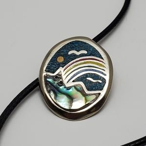 Boho Rainbow Mountain Turquoise Pendant Necklace